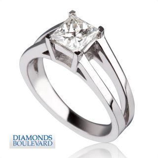 Princess Cut Solitaire Certified Real Diamond Ring 14k White Gold SI D