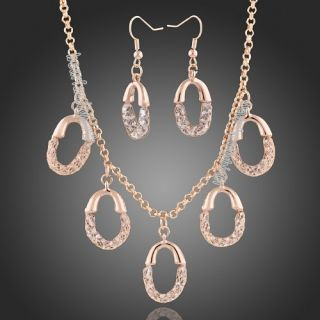 Goldgp Net Zircon Swarovski Crystal Necklace Earrings Set N359