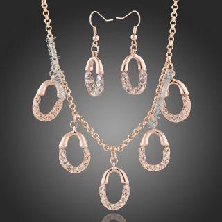 Goldgp Net Zircon Swarovski Crystal Necklace Earrings Set N359