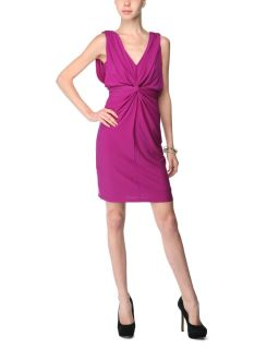 Sandra Darren Purple Knot Front Dress
