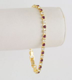 Simulated Purple Amethyst & Clear Cubic Zirconia Tennis Bracelet 14kt