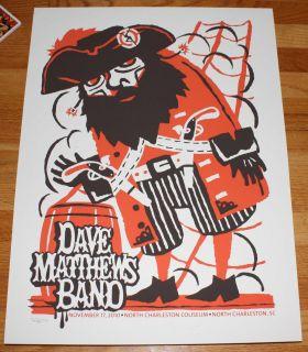 Dave Matthews Band Concert Gig Poster N Charleston 2010
