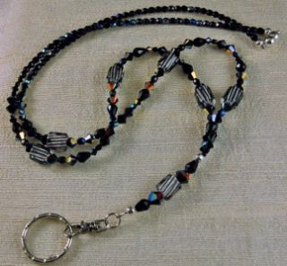 BLACK BADGE HOLDER LANYARD made with CANE GLASS, and SWAROVSKI