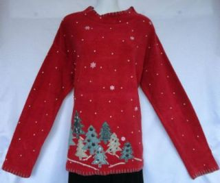 Artsy David Brooks Red Green Cotton Fleece Christmas Tree Snow Holiday