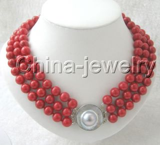 AAA 3row 10mm Natural Perfect Round Red Coral Necklace
