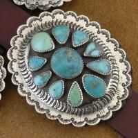 Native American Navajo High Quality Mixed Turquoise Silver Concho