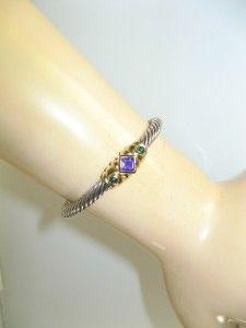 David Yurman Silver 14k Gold Purple Amethyst Green Onyx Cable Bracelet