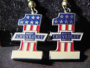 earrings red white and blue stars chevy bow tie auto racing jewelry