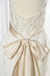 Davids Bridal White Halter Wedding Dress Gown Champagne Sash Beaded