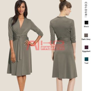 Fluid Wrap Jersey Dress with Sleeve Day Night Cocktail Party Wear