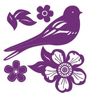 25 Wallies Birds Flowers Damask Toil Shadow Sticker Wall Decals