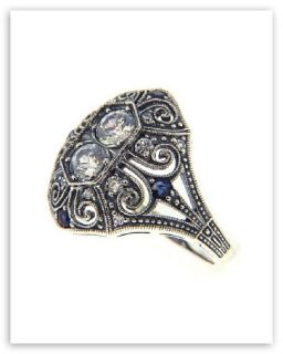 Sterling Silver CZ / Sapphire Filigree Ring   Art Deco Style   Size 7