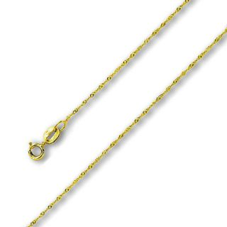 Yellow Solid Gold 0 8 mm Singapore Chain 16 18 inches Necklace