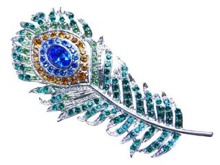 Colorful Single Peacock Feather Crystal Rhinestone Custom Pin Brooch