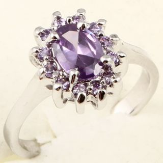 Oval Cut Purple Amethyst Cocktail A083 Ring