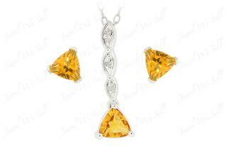 925 Sterling Silver Trillion Cut Citrine Diamond Earring Pendant Set