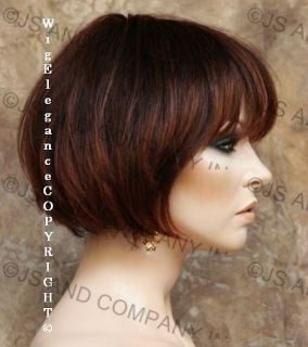 100% HUMAN HAIR SHORT TRAIGHT Auburn mix WIG MOMV w. Bangs 234T