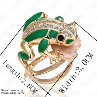plated swarovski crystal cute frog charm cocktail ring size8 r013r1