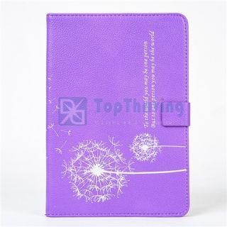 Black Dandelion Design Folio PU Leather Case Smart Cover for iPad Mini
