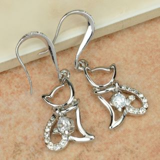 Elegant Swarovski Crystal 18k White Gold GP Dangle Earring   65031