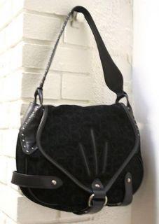 CK Logo Hobo Hand Shoulder Bag Purse Leather Black Suede Hudson