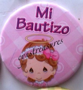 Lote de 12 Botones Pins Precious Moments Bautizo Pink