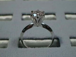 CZ Cubic Zirconia Solitaire Ring 1 Carat 6 Prong 14K White Gold