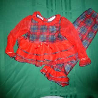 Girls Laura Dare Christmas Holiday Red Plaid Ruffle PJ Set Sz 5 6 EUC