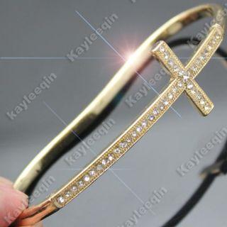 Vintage Gold Cross Crucifix Church Hand Palm Bracelet Bangle Cuff Ring