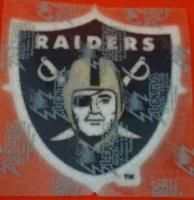 Oakland Raiders Large 4 1/2 inch Shield Logo Iron On Patch   UNSOLD