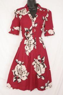 Sz 2 Anthropologie Maeve Dagmar Red Rose Floral Dress