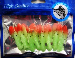 PK Red Head Glow in Dark Shrimp Bait Lures 8PC New