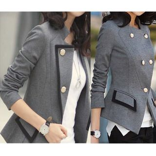 Korean Women Fashion OL Slim Black Dark Grey Blazer Jacket Lady