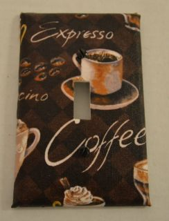 Coffee Cafe Theme Light Switch Plate Cover coordinating fabric wall