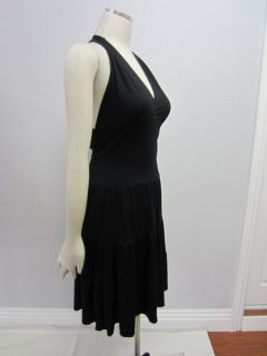 Honeycomb Christopher Deane $218 Black Boho Halter Jersey Dress L Open