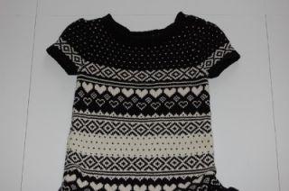 Gap Kids DEER VALLEY NORTH STAR Black & Cream Fair Isle Sweater Dress