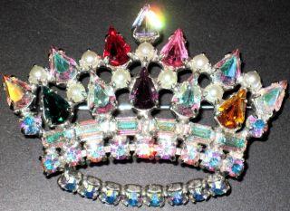 DAVID Aurora Borealis & Colorful Rhinestone Crown Vintage Pin