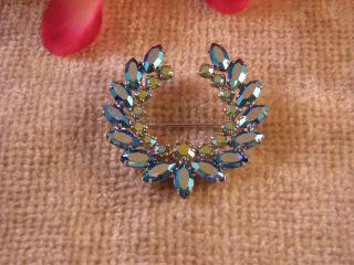 Vintage B David Blue Aurora Borealis Rhinestone Brooch Pin