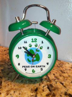 David Goliath Peas on Earth Twin Bell Alarm Clock Green World Peace