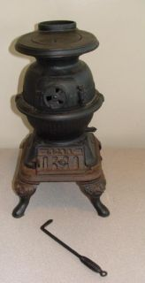Antique Spark Pot Bellied Belly Wood Cook Stove It Works