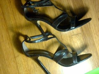 Charles David Brown Leather Snake Print Open Toe Strappy Sandals Size