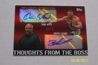 UFC Topps Brock Lesnar Dana White Dual Auto 25 Toughts From The Boss
