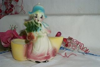 Vintage Dutch Girl Shoe Boot Pottery Planter Vase Shawnee