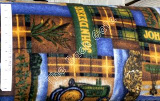 David John Deere Tractors Corn Windmill Fleece Fabric