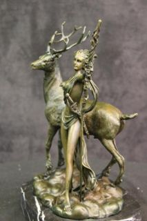 Diana The Huntress Spear Deer Wild Forest Stag Bronze Greek Statue