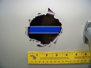 Thin Blue Line Torn Metal Hole Decal The Coolest Police Sticker SHIPS