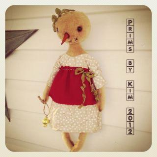 Primitive Simple Prim Fuzzy Vintage LK Snowman Doll Bear Whimsy Folk