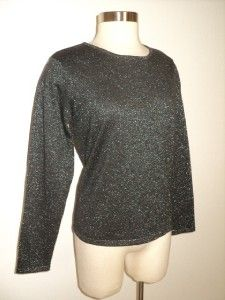 Talbots Holiday Black Silver Shimmer Wool Blend Sweater L