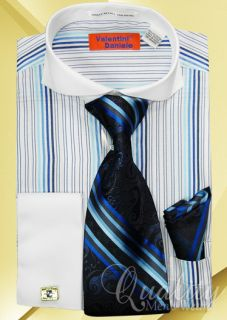 Blue Multi Stripe Dress Shirt Set Tie Cuff Links White Spread Collar
