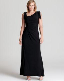 David Meister New Black Matte Jersey Applique Ruched Long Formal Dress